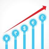 Powstający wykres waluta bary robić żarówki Zdjęcie Stock