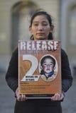 10 powstania Marcowy dzień 2017 w Tybet, Bern Szwajcaria Zdjęcie Stock