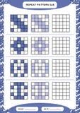 Powtórek purpur wzór Sześcian siatka z kwadratami Dodatek specjalny dla preschool dzieciaków Worksheet dla ćwiczyć świetnie motor royalty ilustracja