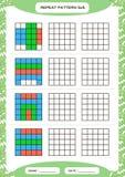Powtórka kolorowy wzór Sześcian siatka z kwadratami Dodatek specjalny dla preschool dzieciaków Worksheet dla ćwiczyć świetnie mot ilustracja wektor