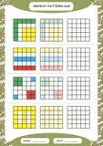 Powtórka kolorowy wzór Sześcian siatka z kwadratami Dodatek specjalny dla preschool dzieciaków Worksheet dla ćwiczyć świetnie mot ilustracji