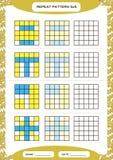 Powtórki błękita żółty wzór Sześcian siatka z kwadratami Dodatek specjalny dla preschool dzieciaków Worksheet dla ćwiczyć świetni ilustracja wektor