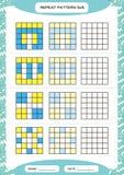 Powtórki błękita żółty wzór Sześcian siatka z kwadratami Dodatek specjalny dla preschool dzieciaków Worksheet dla ćwiczyć świetni royalty ilustracja