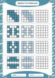 Powtórki błękita wzór Sześcian siatka z kwadratami Dodatek specjalny dla preschool dzieciaków Worksheet dla ćwiczyć świetnie moto ilustracji