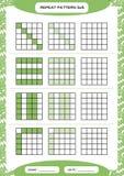 Powtórki zieleni wzór Sześcian siatka z kwadratami Dodatek specjalny dla preschool dzieciaków Worksheet dla ćwiczyć świetnie moto royalty ilustracja
