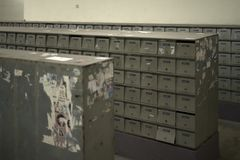 Powtórkowy skrzynka pocztowa wzór jednakowy lokalowi elementy fotografia stock