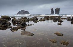 Powulkaniczna plaża Mosteiros Zdjęcia Royalty Free