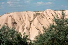 Powulkanicznej skały krajobraz, Goreme, Cappadocia, Obrazy Stock
