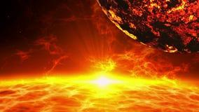 Powulkaniczny exoplanet nad słoneczną erupcją royalty ilustracja