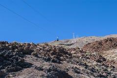 Powulkaniczny krajobraz - kablowa kolej fotografia stock