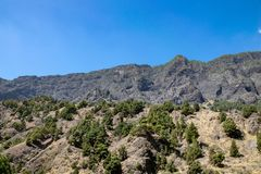 Powulkaniczny krajobraz przy Barranco De Las Augustias, los angeles Palma, wyspy kanaryjskie, Hiszpania fotografia royalty free