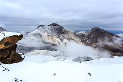 Powulkaniczny krater góra Aragats, północny szczyt przy 4.090 m, Armenia fotografia royalty free