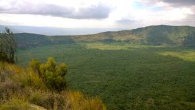 Powulkaniczny krater na górze Longonot, rift valley, Kenja Fotografia Stock