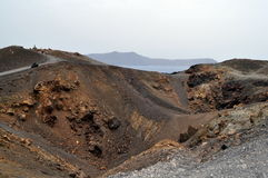 Powulkaniczny krater Nea Kameni, Grecja. Obraz Stock