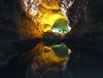 Powulkaniczny tunel Wyspa Lanzarote Cavern Cuevas De Los Verdes zdjęcia stock