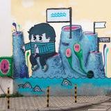 Powulkanicznych krajobrazów uliczna sztuka w Varna, Bułgaria Fotografia Stock