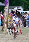 Powwow Traditional Dancer. Ohsweken, Ontario, Canada, July 27, 2008. A young Traditional dancerperforms during the Grand River Champion of Champions Powwow. Men' stock image