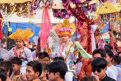 Poy Sang Long 2017. CHIANG MAI, THAILAND - MARCH 24 : Poy Sang Long festival, A Ceremony of boys to become novice monk, In parade around Koo Maan temple on stock photo