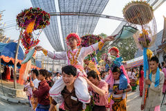 Poy Sang Long 2017. CHIANG MAI, THAILAND - MARCH 24 : Poy Sang Long festival, A Ceremony of boys to become novice monk, In parade around Koo Maan temple on royalty free stock images