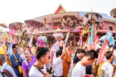 Poy Sang Long 2017. CHIANG MAI, THAILAND - MARCH 24 : Poy Sang Long festival, A Ceremony of boys to become novice monk, In parade around Koo Maan temple on stock photos