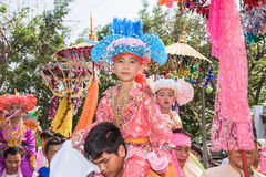 Poy Sang Long. CHIANG MAI, THAILAND - MARCH 29 : Poy Sang Long festival, A Ceremony of boys to become novice monk, parade around township to Ku Tao temple on stock image