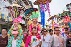 Poy Sang Long. CHIANG MAI, THAILAND - MARCH 29 : Poy Sang Long festival, A Ceremony of boys to become novice monk, parade around township to Ku Tao temple on stock photo