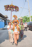 Poy Sang Long. CHIANG MAI, THAILAND - MARCH 29 : Poy Sang Long festival, A Ceremony of unidentified boys to become novice monk, parade around township to Ku Tao royalty free stock photography