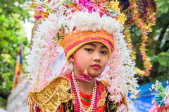 Poy Sang Long. CHIANG MAI, THAILAND - MARCH 29 : Poy Sang Long festival, A Ceremony of unidentified boys to become novice monk, parade around township to Ku Tao stock images