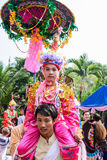 Poy Sang Long festival. CHIANGMAI, THAILAND-APRIL 5:Poy Sang Long festival,A Ceremony of unidentified boys to become novice monk, during in parade around stock photo