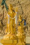 Pozłocista Bodhisattva statua w Thimphu zdjęcia stock