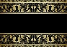 Pozłocista rama z dekoracyjnymi elementami ilustracja wektor