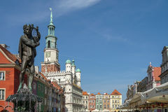 POZAN, POLAND/EUROPE - SEPTEMBER 16 : Fountain of Apollo in Poznan Poland on September 16, 2014 stock photos