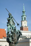 POZAN, POLAND/EUROPE - SEPTEMBER 16 : Fountain of Neptune in Poznan Poland on September 16, 2014 stock images
