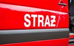 Pozarna de Straz - signez les sapeurs-pompiers polonais sur le véhicule images stock