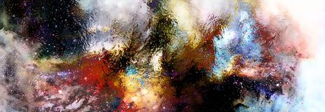 Pozaziemska przestrzeń, gwiazdy, pozaziemski abstrakcjonistyczny tło i szklany skutek, ilustracji
