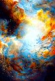 Pozaziemska przestrzeń i gwiazdy, barwimy pozaziemskiego abstrakcjonistycznego tło ilustracja wektor