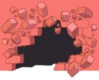 Poziom Terenu dziury łamanie Przez Czerwonej ściany z cegieł fotografia royalty free