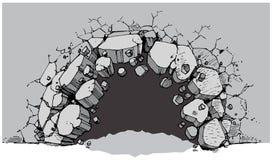 Poziom Terenu dziury łamanie Przez Szerokiej ściany ilustracji