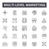 Pozioma marketingu linii ikony, znaki, wektoru set, konturu pojęcie, liniowa ilustracja ilustracji