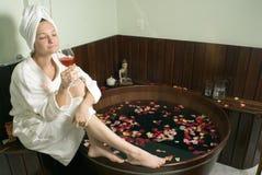 pozioma spa relaksująca kobieta Obrazy Stock