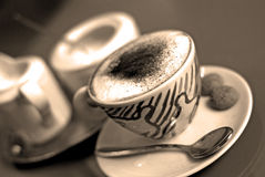 poziomy sepiowy cappuccino fotografia stock