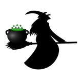 Pozione di fortuna del vaso della strega sulla sua scopa per Halloween Fotografie Stock Libere da Diritti
