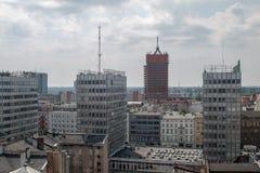 """PoznaÅ """"panorama från taket Royaltyfri Fotografi"""