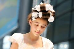 POZNAN - 18-ОЕ АПРЕЛЯ: Стили причёсок выставки Eco дружелюбные от пользы  Стоковое Изображение RF