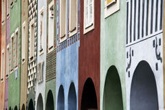 Poznan. Set of colorful tenements in the old town of Poznan, Poland Royalty Free Stock Photo