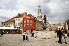 Poznan. MAY 14: beautiful old town of , famous colorful tenements, town hall and Apollo fountain on May 14, 2011 in , Poland Stock Photos