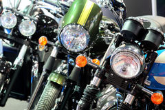 POZNAN - APRIL 09 : Row of motorcycles on fair at The Motor Show Royalty Free Stock Image