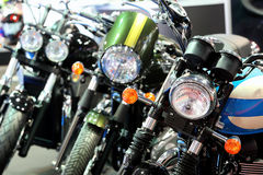 POZNAN - APRIL 09 : Row of motorcycles on fair at The Motor Show Royalty Free Stock Images