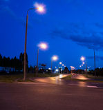 Poznan intersection by night Royalty Free Stock Photo
