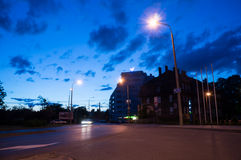 Poznan intersection by night Royalty Free Stock Photos